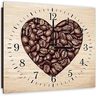 Reloj decorativo con imagen, el corazón de los granos de café