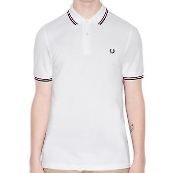 Fred Perry M3600 Twin getipt Polo wit/rood/Navy