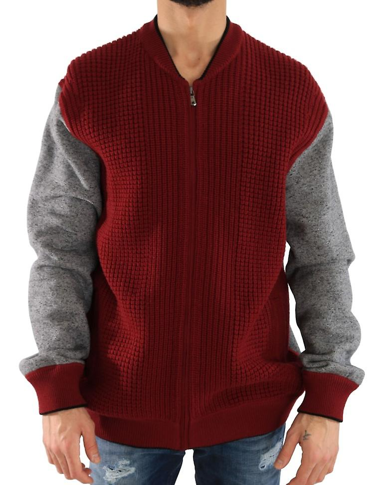 Red Gray Zipper Wool Knitted Sweater