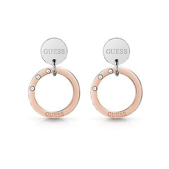 Guess Jewellery Logo Coin Circle Silver Rose Gold Earrings UBE29033