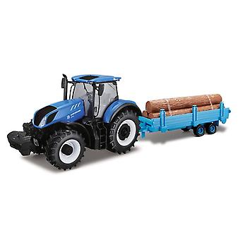 Bburago New Holland T7HD Farm Tractor Log Trailer - 1:32 Scale