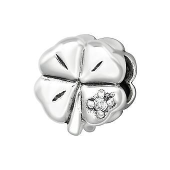 Blatt - jeweled 925 Sterling Silber Beads - W6097X