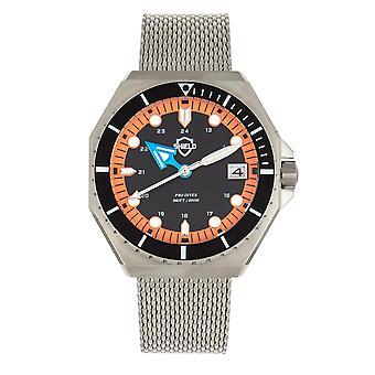 Bouclier Marius Bracelet Men-apos;s Diver Watch w/Date - Argent/Orange