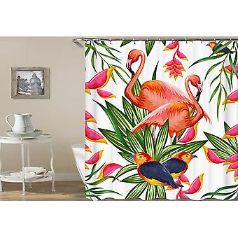 Flamingo's en zangvogels levendige kleuren douche gordijn