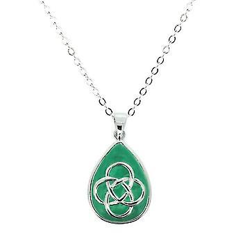 """שרשרת של הנצח הקלטי-מחרוזת בצורת דמעה תליון-אמייל ירוק-כולל 18 """"שרשרת"""