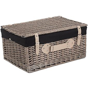 36cm Antique Wash Wicker Picnic Basket with Black Lining