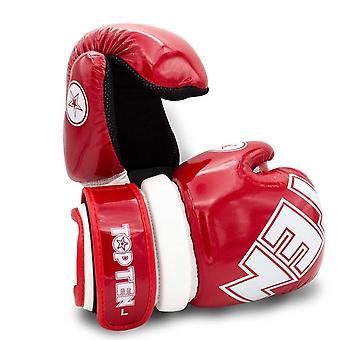 Top ten glossy bloco pointfighter luvas vermelho / branco