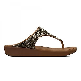 FitFlop Banda Ii Quartz Ladies Toe Post Sandals Gold