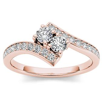 IGI certifié 14 k Rose or 3/4ct TDW diamant deux-Stone Ring (I-J, I2)