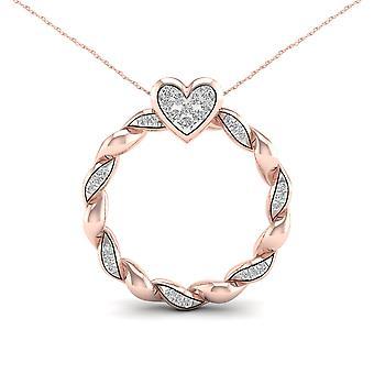 Igi certified 10k rose gold 0.10ct tdw diamond circle heart necklace