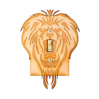 Lion single switch plate 4.7x6.4 laser engraved wood
