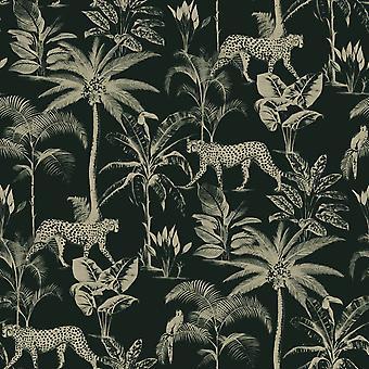 Savannah Cheetah behang zwart/goud Rasch 409031