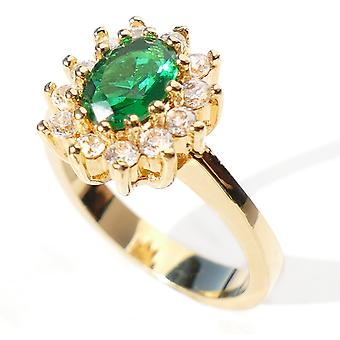 Ah! Smycken guld elektropläterad, förtrollande mode måste ha ring. Med en fantastisk oval Smaragdsimulerad diamant.