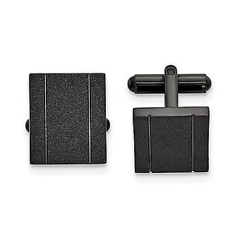 17.12mm rustfritt stål polert svart ip-belagt laser cut mansjett lenker smykker gaver til menn