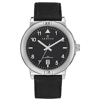 Sjekk Certus 611123-Dateur bo tier stål sølv Lær armbånd svart skinn menn