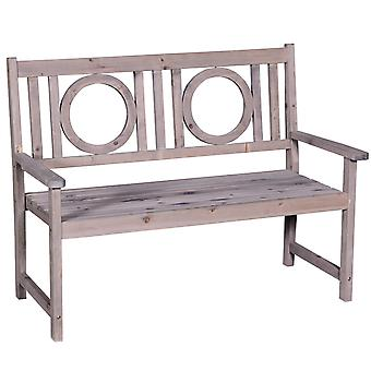 Outsunny 2-Seater Garden Bench Solid Fir Wood Porch Loveseat Chair for Garden Patio Outdoor Furniture