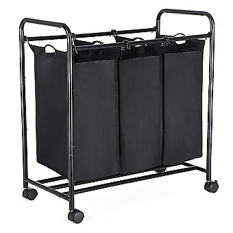 Cesta de lavandería / clasificador de ropa - 3 cestas - negro