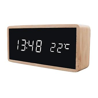 Digital alarm clock with wood design - White