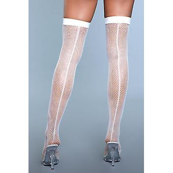 Great Catch Fishnet Seam Stockings - White