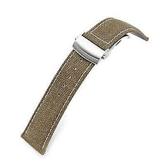 Strapcode fabric watch strap 20mm or 22mm khaki canvas watch band brushed roller deployant buckle, beige stitching