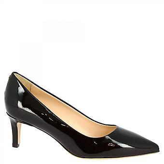 Chaussures Leonardo Women-apos;s chaussures à talons mi faits à la main en cuir verni noir