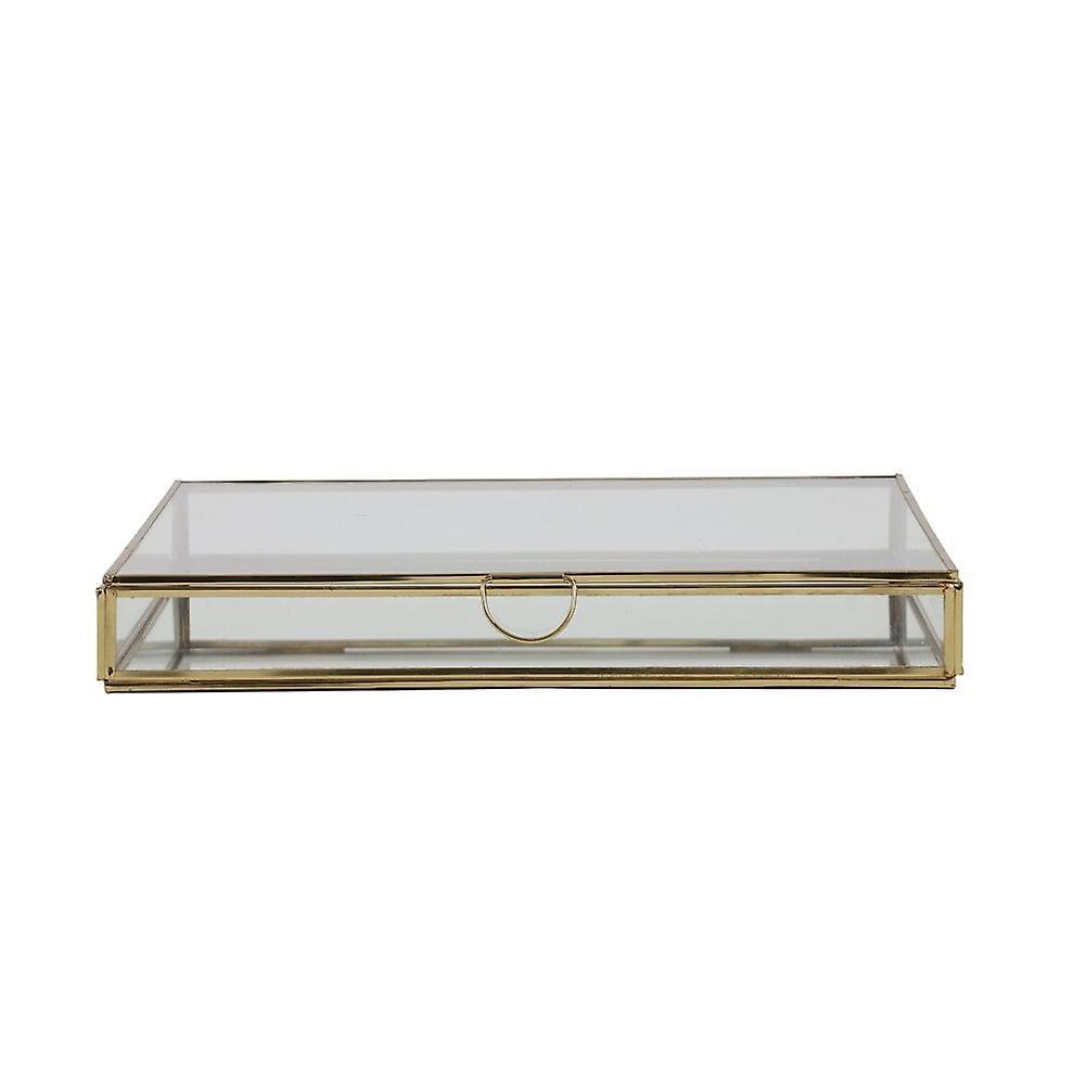 Boîte déco légère et vivante 30x30x4cm Mirina Gold-Mirror