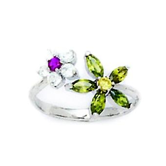 14k White Gold Green and Red CZ Cubic Zirconia Simulated Diamond Adjustable Flower Body Jewelry Toe Ring Jewelry Gifts f