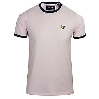 Lyle & scott men's strawberry cream and navy ringer t-shirt