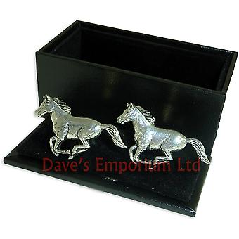 Galloping Horses Cufflinks - Gift Boxed -  Fine English Pewter Horse Cuff Links