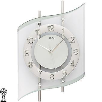 AMS 5506 Seinäkello radio radio seinäkello analoginen hopea moderni kaareva lasi