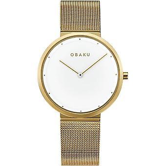 Obaku Papir Lille Gold Tone Women's Wristwatch V230LXGWMG