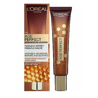 L'Oreal Age Perfect Manuka Honey Miracle Salve til tør hud 40ml ansigt, hals, albuer Hænder ReNourish