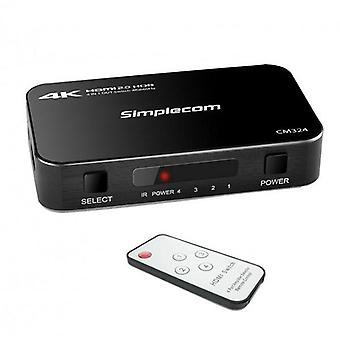 Simplecom CM324 4 Way HDMI 2.0 4K Switch with Remote