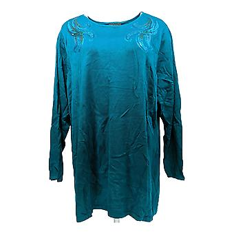 Bob Mackie Women's Plus Sweater Boat Neck Pullover w/Sequins Green A296424