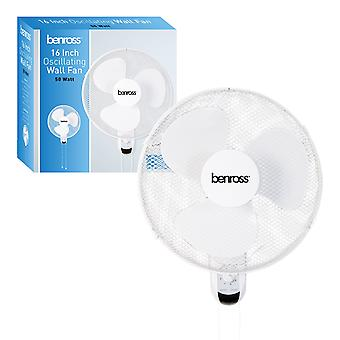 Benross 16 Inch Oscillating Wall Fan 50W White