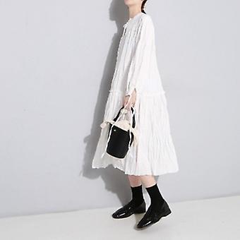 Stylish Pressure Pleated  Loose Large Swing Bottom Dress