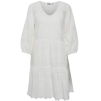 b.young White Lace Effect Smock Dress