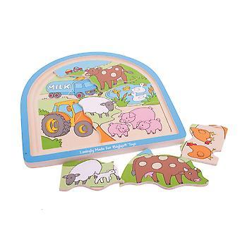 Bigjigs leksaker Chunky trä gård välvda pedagogiska barn pussel