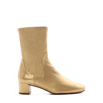 Stuart Weitzman Ernestinewetgold Women's Gold Leather Ankle Boots