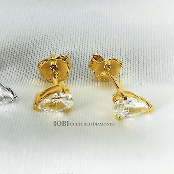 Delicata d'ora kształt gruszki .35ct iobi symulowane diamentowe kolczyki z pasjansem