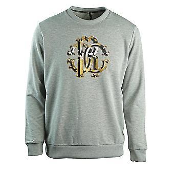 Roberto Cavalli Grand Crest Grey Sweatshirt