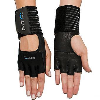 Quatre fit les Grip spartiate cuir Fitness musculation gants - noir