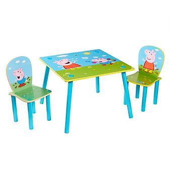 Set Tavolino e 2 Sedie in Legno Peppa Pig