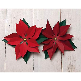 16 Diecut Poinsettias for Adults Christmas Crafts - Red