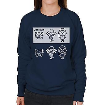 Aggretsuko Gori Washimi Retsuko Zwart-Witte Vrouwen's Sweatshirt
