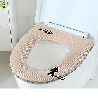 Universal Winter Dikke Wc-bril Cover Cute Cat Toilet Cover Wasbaar toilet