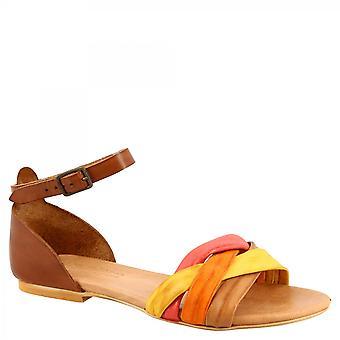 Leonardo Shoes Femmes'sandales plates faites à la main en cuir de chèvre multicolore avec bracelet de cheville