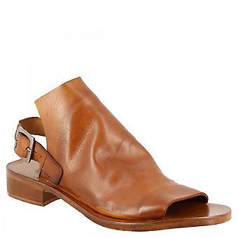 Leonardo Kengät Naiset&s käsintehty tasainen slingback avoin toe sandaalit ruskea vasikka nahka