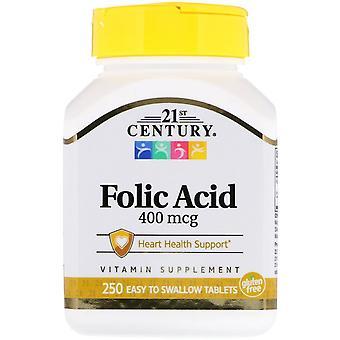21st Century, Acide folique, 400 mcg, 250 comprimés faciles à avaler