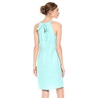 28 Palms Women's 100% Linen Halter Shift Dress, Aqua, Large